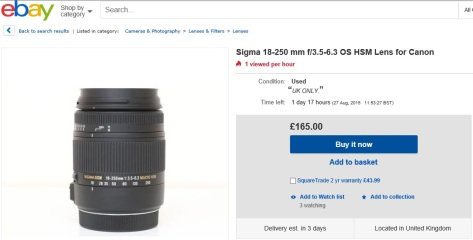 Sigma 18-250mm f/3.5-6.3 DC OS HSM on ebay - 25th August 2015